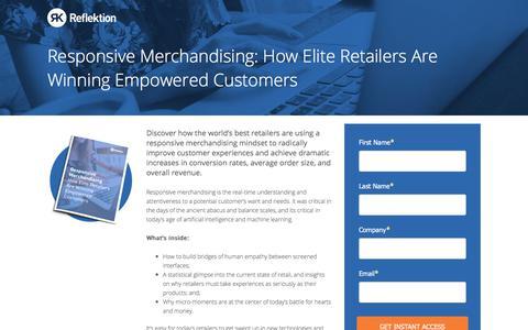 Screenshot of Landing Page reflektion.com - Responsive Merchandising: How Elite Retailers Are Winning Empowered Customers - captured Jan. 14, 2018