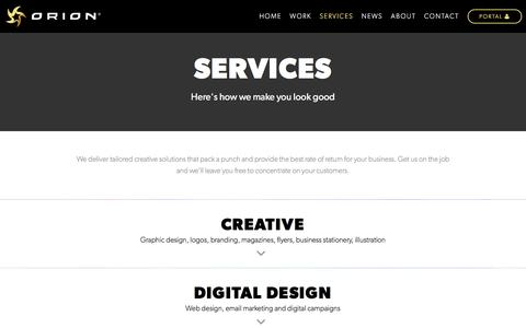 Screenshot of Services Page orioncreative.com.au - Orion Creative Solutions - Design and Marketing | Services - captured Aug. 13, 2016