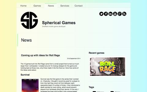 Screenshot of Press Page sphericalgames.co.uk - Spherical games - News - captured Aug. 13, 2015