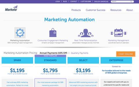 Screenshot of Pricing Page marketo.com - Pricing | Marketo Marketing Automation - captured Oct. 29, 2015