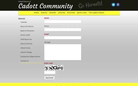 Screenshot of Contact Page cadott.k12.wi.us - Contact Us › School District of Cadott Community - captured Feb. 4, 2016