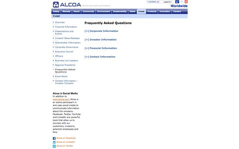 Screenshot of FAQ Page alcoa.com - Alcoa: Invest: Frequently Asked Questions - captured Oct. 10, 2014