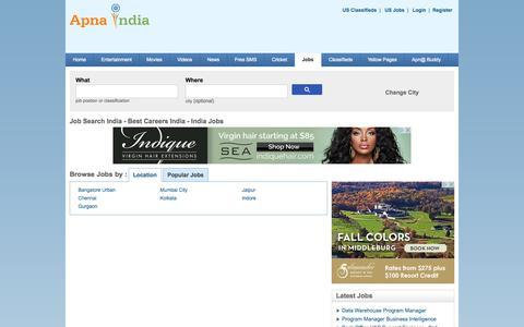 Screenshot of Jobs Page apnaindia.com - Job Search India - Careers India - India Jobs - best jobs.apnaindia.com - captured Sept. 22, 2014