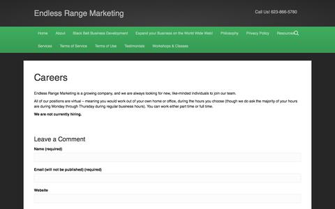 Screenshot of Jobs Page endlessrangemarketing.com - Careers - Endless Range Marketing - captured Dec. 9, 2015