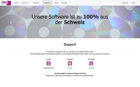 Screenshot of Support Page ima.ch - ima ag, wir warten Ihre Hardwarekomponenten - captured Nov. 18, 2016