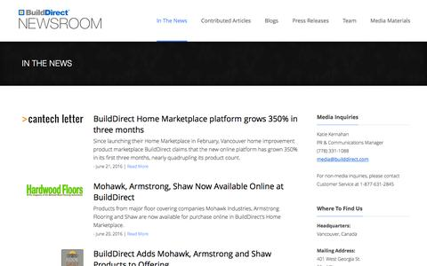 Screenshot of Press Page builddirect.com - News Articles | BuildDirect Newsroom - captured July 3, 2016