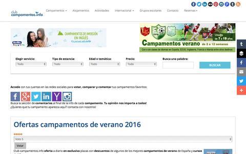 Screenshot of Home Page campamentos.info - Campamentos de verano 2016 - captured April 8, 2016