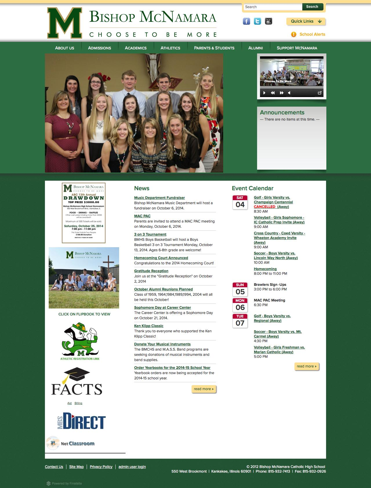 Screenshot of bishopmac.com - Bishop McNamara Catholic High School - captured Oct. 5, 2014
