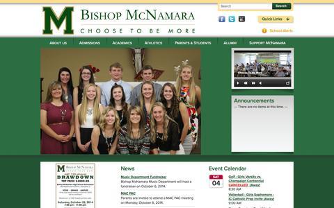 Screenshot of Home Page bishopmac.com - Bishop McNamara Catholic High School - captured Oct. 5, 2014