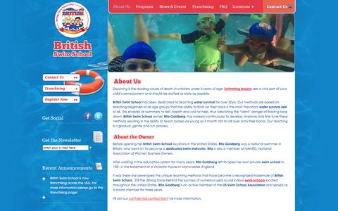 Screenshot of About Page britishswimschool.com - Swimming Lessons   Swim Classes   Water Safety   British Swim School - captured Sept. 30, 2014