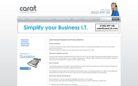 Screenshot of Privacy Page carat.uk.com - Carat Computer Systems Ltd Privacy statement | Carat Computer Systems - captured Oct. 1, 2014
