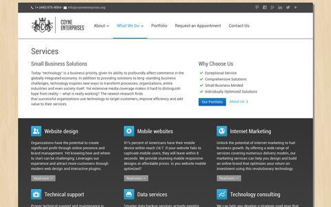 Screenshot of Services Page coyneenterprises.org - Services ‹ Coyne Enterprises | Website Design and Internet Marketing - captured Oct. 3, 2014
