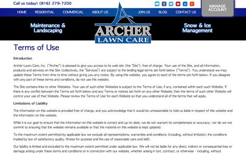 Screenshot of Terms Page archerlawncare.com - Terms of Use - Archer Lawn Care - captured Nov. 21, 2016