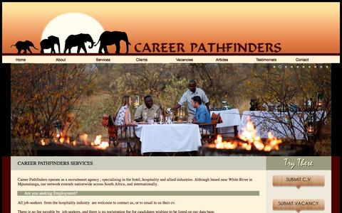 Screenshot of Services Page careerpathfinders.co.za - Career Pathfinders Services | Need Employment? | Need Employers? | South African Recruitment Agency | Hospitality Industry | International Recruiters for Lodges, Hotels, Resorts - captured Sept. 29, 2014