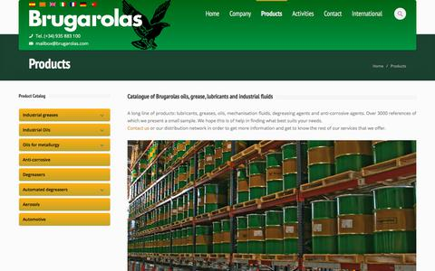 Screenshot of Products Page brugarolas.com - Catalogue of Brugarolas oils, grease, lubricants and industrial fluids. - captured Aug. 1, 2018