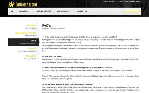 Screenshot of FAQ Page cartridgeworld.in - FAQ Page   Cartridge World - captured Oct. 3, 2018