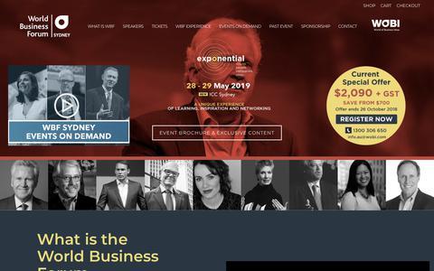 Screenshot of wobi.com - World Business Forum Sydney 2019 | World Business Forum Sydney 2019 - captured Oct. 23, 2018