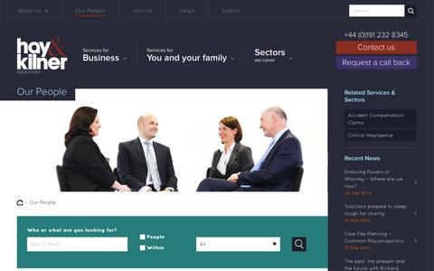 Screenshot of Team Page hay-kilner.co.uk - Our People - Hay & Kilner Solicitors - lawyers in Newcastle upon Tyne - captured Sept. 29, 2014