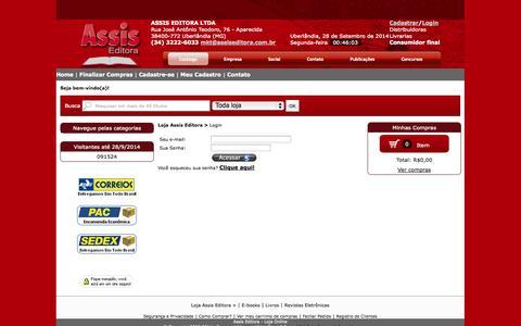 Screenshot of Login Page assiseditora.com.br - Assis Editora - Loja Virtual de Livros - captured Sept. 30, 2014