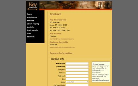 Screenshot of Contact Page key-impressions.com - key-impressions - contact us - captured Sept. 30, 2014