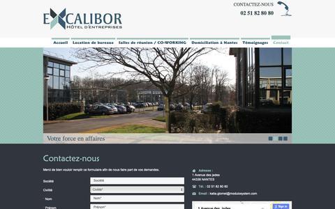 Screenshot of Contact Page excalibor.fr - Des espaces de Co Working  à Carquefou chez MODULO SERVICES : Contact - captured Nov. 11, 2018
