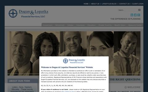 Screenshot of Home Page duganlopatkafinancial.com - Dugan & Lopatka Financial Services - captured Oct. 5, 2014