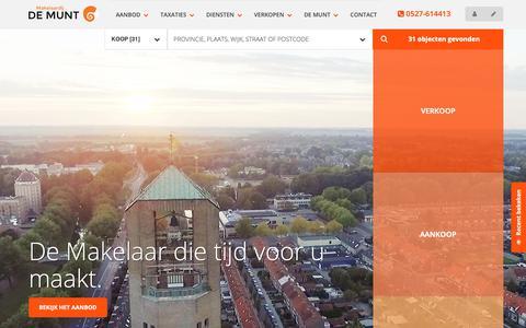 Screenshot of Home Page de-munt.nl - Makelaardij De Munt Noordoostpolder - Makelaardij De Munt - captured Oct. 1, 2018