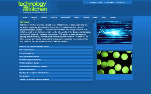 Screenshot of Services Page technologykitchen.com - Engineering Services,  Austin Texas | Technology Kitchen | Technology Kitchen - captured Oct. 9, 2014