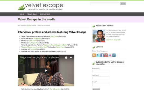 Screenshot of Press Page velvetescape.com - Velvet Escape in the media - captured Sept. 20, 2018