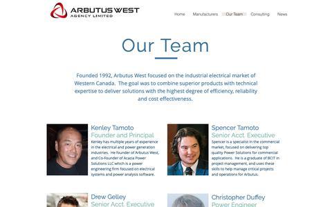 Screenshot of Team Page arbutuswest.com - Arbutus West Agency   Our Team - captured Oct. 4, 2018