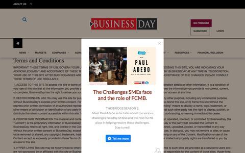 Screenshot of Terms Page businessdayonline.com - BusinessDay Media - Online | Print | TV | Podcast. - captured Sept. 21, 2018