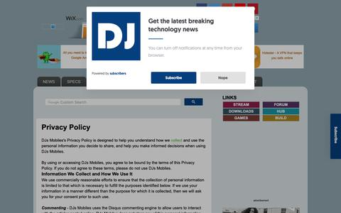 Screenshot of Privacy Page djsmobiles.com - DJs Mobiles - Technology Blog: Privacy Policy - captured Nov. 6, 2018