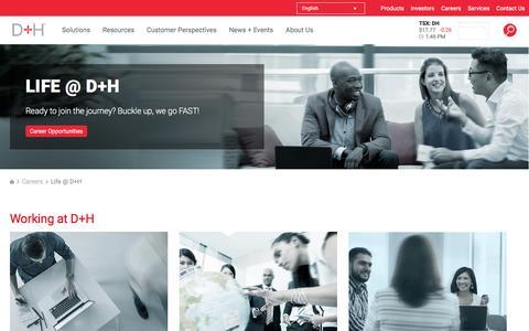 Screenshot of Jobs Page dh.com - Life @ D+H | D+H - captured Oct. 28, 2016