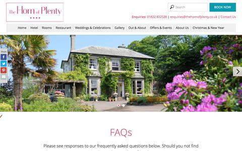 Screenshot of FAQ Page thehornofplenty.co.uk - FAQs | The Horn of Plenty - captured Oct. 22, 2017