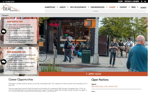 Screenshot of Jobs Page ipg.nyc - Join Brooklyn's Largest Independent Real Estate Broker | Ideal Properties Group | ipg.nyc - captured Jan. 26, 2018