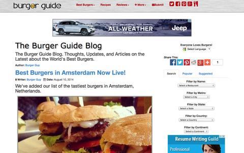 Screenshot of Blog theburgerguide.com - Burger Guide Blog -  Latest about the World's Best Burgers - The Burger Guide - captured Oct. 26, 2014
