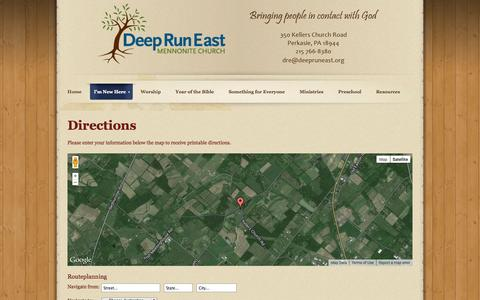 Screenshot of Maps & Directions Page deepruneast.org - Directions - captured Oct. 5, 2014