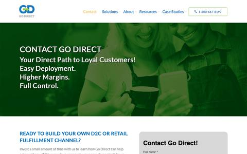 Screenshot of Contact Page godirectsolutions.com - Contact Go Direct and Build Your Direct-to-Consumer Channel Today - captured Oct. 21, 2018