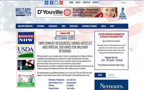 Screenshot of Jobs Page militaryconnection.com - Veteran Jobs | Veteran Employment | Veteran Career Opportunities - Military Connection - captured Sept. 4, 2016