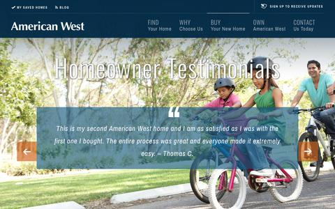 Screenshot of Testimonials Page americanwesthomes.com - NEW PROPERTIES IN LAS VEGAS, NV FOR SALE   TESTIMONIALS - captured Oct. 21, 2018