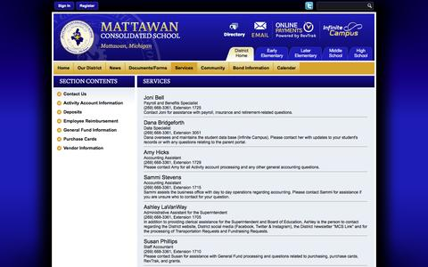 Screenshot of Services Page mattawanschools.org - Business Services / Contact Us - captured Nov. 28, 2016