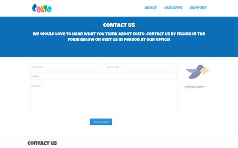 Screenshot of Contact Page colto.com - Contact us - We would love to hear what you think about Colto - captured July 15, 2016