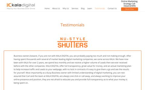 Screenshot of Testimonials Page kaladigital.com.au - Testimonials - Kala Digital - captured July 9, 2018