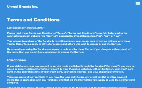 Screenshot of Terms Page getunreal.com - Terms and Conditions - UnReal Candy - captured June 28, 2017