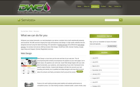 Screenshot of Services Page digitalwatermelon.com - Digital Watermelon ConsultingServices» - Digital Watermelon Consulting - captured Oct. 5, 2014