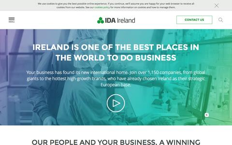 Screenshot of Home Page idaireland.com - Foreign Direct Investment - IDA Ireland - IDA Ireland Investment Promotion Agency - captured July 20, 2015