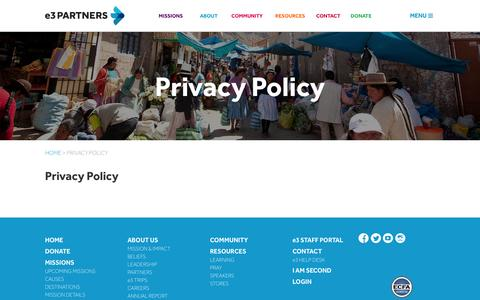 Screenshot of Privacy Page e3partners.org - e3 PARTNERS | Privacy Policy - captured Nov. 2, 2014