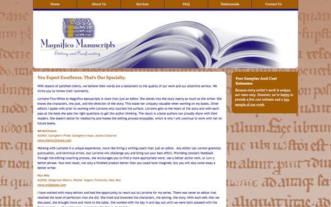 Screenshot of Testimonials Page magnificomanuscripts.com - Magnifico Manuscripts | Editing And Proofing - captured Oct. 4, 2014