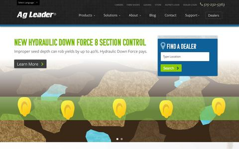 Screenshot of Home Page agleader.com - The Complete Package | Ag Leader Technology - captured Sept. 19, 2014
