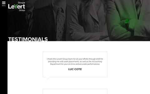 Screenshot of Testimonials Page levert.ca - Testimonials - Levert Group - captured Aug. 3, 2017